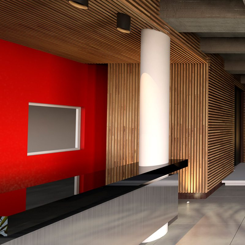 Architecture Solario building. Tender of lobby.